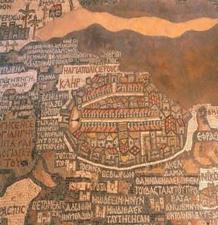 carte mosaïque à Madaba en Jordanie